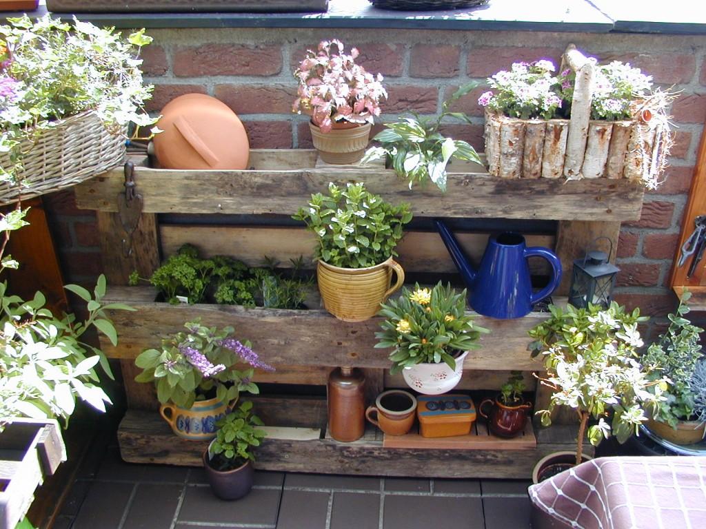 Regal aus einer Europalette mit Pflanzen
